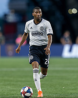 FOXBOROUGH, MA - JUNE 27: Raymon Gaddis #28 dribbles during a game between Philadelphia Union and New England Revolution at Gillette Stadium on June 27, 2019 in Foxborough, Massachusetts.