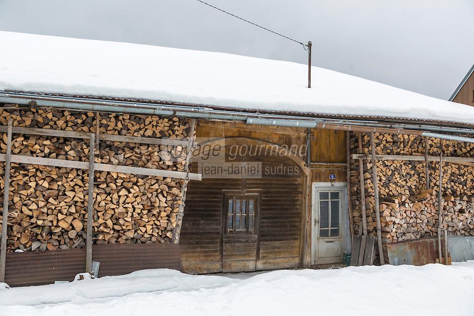 Europe/France/Franche-Comté/25/Doubs/Mouthe: Détail ferme aux tas de bois //  France, Doubs, Mouthe, detail of an old farm