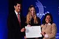 """RIO DE JANEIRO, RJ, 09.11.2013 -BILL CLINTON / CLINTON GLOBAL INTIATIVE (CGI) / RJ -Chelsea Clinton filha de Bill Clintn, ex-presidente dos Estados Unidos, na abertura do clinton Global Intiative, na manhã desta segunda-feira (09), o tema do painel de abertura é """"Desenhando oportunidades para o crescimento"""". Nessa sessão, líderes de diferentes setores vão falar sobre parcerias que estimulem a cultura de inovação, promovam o desenvolvimento econômico e levem à maior competitividade global da região, em Copacabana, zona sul da cidade do Rio de Janeiro. (Foto: Marcelo Fonseca / Brazil Photo Press)."""