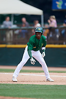 Beloit Snappers left fielder Lazaro Armenteros (8) leads off first base during a game against the Dayton Dragons on July 22, 2018 at Pohlman Field in Beloit, Wisconsin.  Dayton defeated Beloit 2-1.  (Mike Janes/Four Seam Images)
