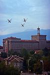 MI-24s (Hind) Gunships over the Math Faculty, Bulgarian Academy of Sciences