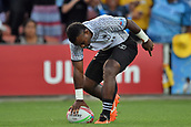 January 27th, Hamilton, New Zealand;  Fiji's Jerry Tuwai goes over for a try during the Day 2 of the HSBC World Rugby Sevens Series 2019, FMG Stadium Waikato,Hamilton, Sunday 27th January 2019.