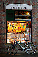 Belgium, West-Flanders, Bruges: Evening exterior of 't Brugs Beertje, famous Belgian Beer Pub