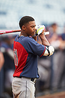 Khalil Lee (11) of Flint Hill High School in Centreville, Virginia playing for the Cleveland Indians scout team during the East Coast Pro Showcase on July 29, 2015 at George M. Steinbrenner Field in Tampa, Florida.  (Mike Janes/Four Seam Images)