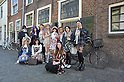 Japanese street fashion fans in the Dutch city of Leiden, the center of Japan studies in the Netherlands. Picture shot in Leiden, Holland on May 24th, 2015.
