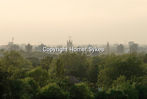 London Skyline, looking north from green south London UK.