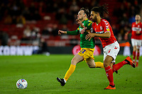 Preston North End's Brandon Barker holds off the challenge from Middlesbrough's Ryan Shotton<br /> <br /> Photographer Alex Dodd/CameraSport<br /> <br /> The EFL Sky Bet Championship - Middlesbrough v Preston North End - Wednesday 13th March 2019 - Riverside Stadium - Middlesbrough<br /> <br /> World Copyright &copy; 2019 CameraSport. All rights reserved. 43 Linden Ave. Countesthorpe. Leicester. England. LE8 5PG - Tel: +44 (0) 116 277 4147 - admin@camerasport.com - www.camerasport.com