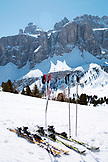 ITALY, Alta Badia/Dolomites, Skis on slope with Sella Massif in background
