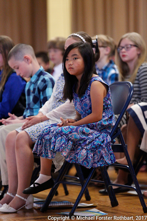 The Oneonta Greater Plains elementary school fifth grade awards ceremony, on June 21, 2017.<br /> &copy; Michael Forster Rothbart Photography<br /> www.mfrphoto.org &bull; 607-267-4893<br /> 34 Spruce St, Oneonta, NY 13820<br /> 86 Three Mile Pond Rd, Vassalboro, ME 04989<br /> info@mfrphoto.org<br /> Photo by: Michael Forster Rothbart<br /> Date:  6/21/2017<br /> File#:  Canon &mdash; Canon EOS 5D Mark III digital camera frame C19274