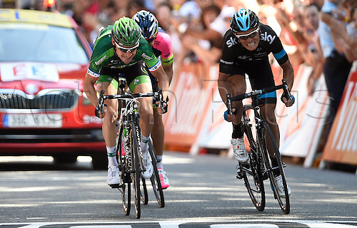 22.07.2014. Carcassonne to Bagnères-de-Luchon, France. Tour de France cycling championship, stage 16.   VOECKLER Thomas of Team Europcar - KIRYIENKA Vasil of Team Sky