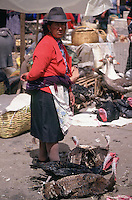 A woman selling turkeys in Tambillo Market.