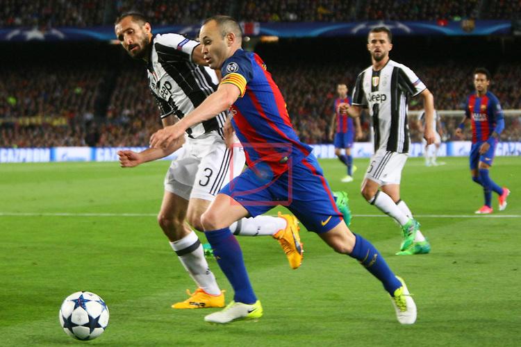 UEFA Champions League 2016/2017.<br /> Quarter-finals 2nd leg.<br /> FC Barcelona vs Juventus Football Club: 0-0.<br /> Giorgio Chiellini vs Andres Iniesta.