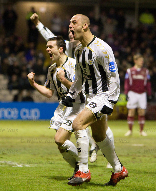Billy Mehmet celebrates his goal which puts St Mirren into the final