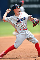 Lakewood BlueClaws third baseman Hunter Stovall (9) throws to first base during a game against the Asheville Tourists at McCormick Field on August 4, 2019 in Asheville, North Carolina. The Tourists defeated the BlueClaws 13-6. (Tony Farlow/Four Seam Images)