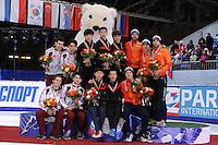 "SHORT TRACK: MOSCOW: Speed Skating Centre ""Krylatskoe"", 15-03-2015, ISU World Short Track Speed Skating Championships 2015, Podium Relay Men, HUNGARY, CHINA, NETHERLANDS, ©photo Martin de Jong"