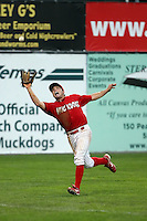 September 15 2008:  Chris Swauger of the Batavia Muckdogs, Class-A affiliate of the St. Louis Cardinals, during a game at Dwyer Stadium in Batavia, NY.  Photo by:  Mike Janes/Four Seam Images
