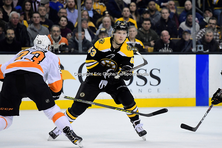 March 8, 2018: Boston Bruins center Danton Heinen (43) skates during the NHL game between the Philadelphia Flyers and the Boston Bruins held at TD Garden, in Boston, Mass. Boston defeats Philadelphia 3-2 in regulation time. Eric Canha/CSM