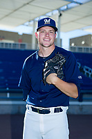 AZL Brewers Kody Rock (29) poses for a photo before a game against the AZL Cubs on August 24, 2017 at Maryvale Baseball Park in Phoenix, Arizona. AZL Cubs defeated the AZL Brewers 9-1. (Zachary Lucy/Four Seam Images)