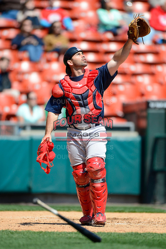 Pawtucket Red Sox catcher Dan Butler #12 during the first game of a doubleheader against the Buffalo Bisons on April 25, 2013 at Coca-Cola Field in Buffalo, New York.  Pawtucket defeated Buffalo 8-3.  (Mike Janes/Four Seam Images)