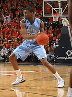 North Carolina Tar Heels guard Reggie Bullock (35) handles the ball during the game against Virginia in Charlottesville, Va. North Carolina defeated Virginia 54-51.