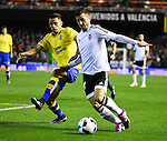 Valencia CF's Jose Gaya  and UD Las Palmas' David Simon during spanish King's Cup match. January 21, 2016. (ALTERPHOTOS/Javier Comos)