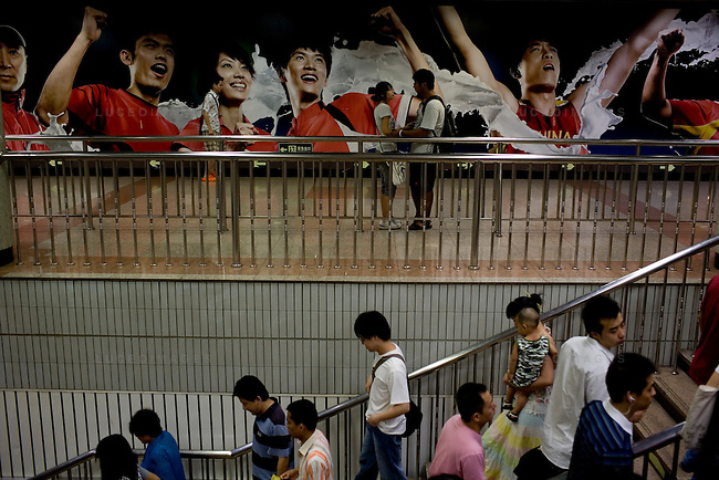 Chinese Olympic team murals line the subway stations in Beijing, China on Tuesday, August 5, 2008. The city of Beijing is gearing up for the opening ceremonies of the Olympic Games.  Kevin German