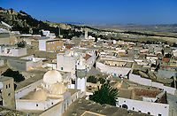 Tunisia, Le Kef.  View from the citadel above the town dominating the area.  Mosque of Bou Makhlouf, left foreground.