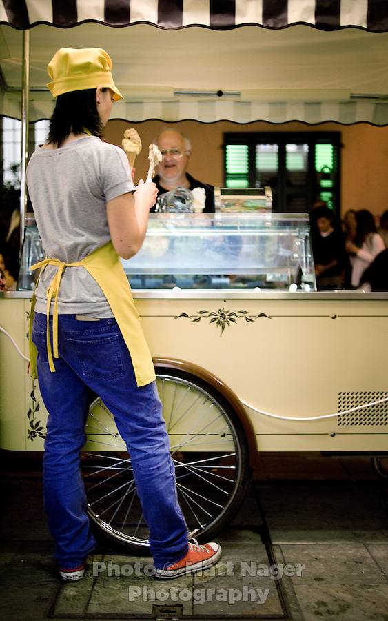 No trip to Italy is complete without Gelato the Italian ice cream. In Forlimpopoli a well known Gelato stand or gelateria named KM 7 is flooded with people during Festa Artusania...PHOTOS/ MATT NAGER
