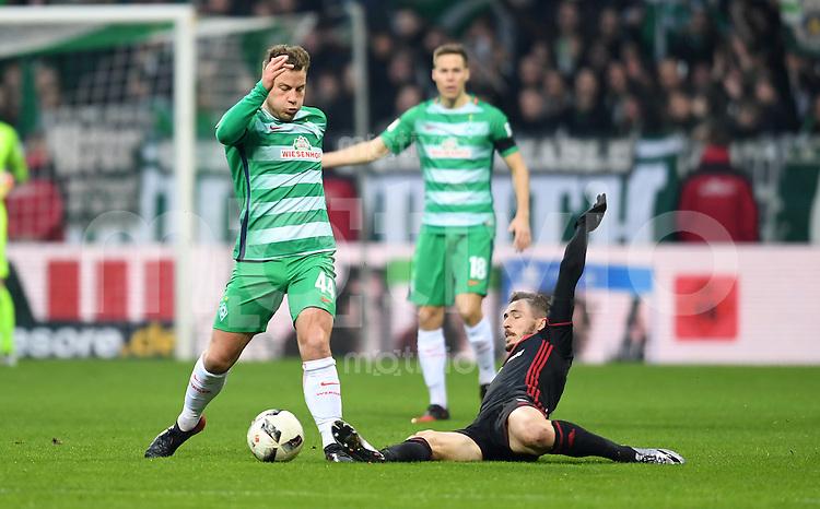 FUSSBALL     1. BUNDESLIGA      13. SPIELTAG    SAISON 2016/2017  SV Werder Bremen - FC Ingolstadt     03.12.2016 Philipp Bargfrede (li, SV Werder Bremen) gegen Mathew Leckie (re, FC Ingoldstadt 04)
