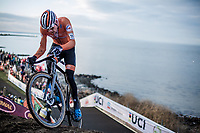 Mathieu Van der Poel (NED) on his way to the rainbow jersey and gold medal. <br /> <br /> Men's Elite race <br /> <br /> UCI 2019 Cyclocross World Championships<br /> Bogense / Denmark<br /> <br /> <br /> &copy;kramon