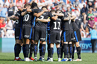 Rotherham United players huddle during the Sky Bet Championship match between Swansea City and Rotherham United at the Liberty Stadium, Swansea, Wales, UK. Friday 19 April 2019
