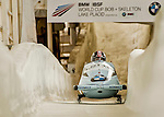 8 January 2016: Christina Hengster, piloting her 2-man bobsled for Austria, enters the Chicane straightaway on her second run, ending the day with a combined 2-run time of 1:54.30 and earning a 3rd place finish at the BMW IBSF World Cup Championships at the Olympic Sports Track in Lake Placid, New York, USA. Mandatory Credit: Ed Wolfstein Photo *** RAW (NEF) Image File Available ***