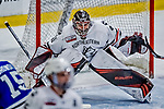29 December 2018: Northeastern University Huskies Goaltender Ryan Ruck, a Senior from Coto de Caza, CA, in third period action against the University of Alabama Huntsville Chargers at Gutterson Fieldhouse in Burlington, Vermont. The Huskies shut out the Chargers 2-0 in the Catamount Cup tournament at the University of Vermont. Mandatory Credit: Ed Wolfstein Photo *** RAW (NEF) Image File Available ***
