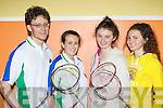 Dingle badminton players at the County championships in Castleisland on Sunday l-r: Iarfhaith O Murchú, Berney de Brún, Rachelina O'Connor and Aisling O'Connor..........