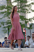 A model walks on the runway at the Eliza Faulkner fashion show held during the  Fashion and Design fashion show in downtown Montreal. August 17 2016