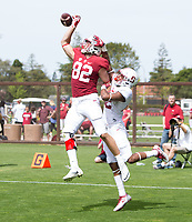 Stanford, CA - April15, 2017:  Denzel Franklin (28) Kaden Smith (82) Obi Eboh (22) at Cagan Stadium.