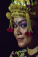 Bali, Indonesia.  Female Dancer at the Uluwatu Temple Kecak and Fire Dance.