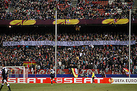 "Atletico de Madrid's supporters carry a banner with the slogan ""enemies with a common target, justice for Gabriele"" during Europa League match.February 23,2012. (ALTERPHOTOS/Acero) .Atletico Madrid Lazio Europa League.Italy Only"