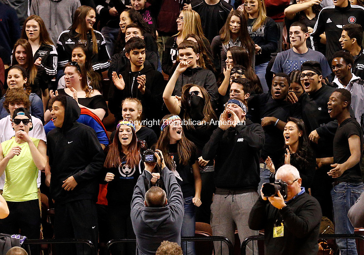 Uncasville, CT- 22 March 2015-032215CM01- Naugatuck fans cheer on their team as they square off against Bunnell during the first half of the Class L state championship game at Mohegan Sun Arena in Uncasville on Sunday.    Christopher Massa Republican-American