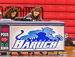 24 November 2015: Yeshiva University Maccabee Beren Campus SAAC President  Shana Wolfstein, works on book during a game against the College of Mount Saint Vincent Dolphins at the Baruch College ARC Arena Gymnasium, in New York, NY. The Dolphins defeated the Maccabees 67-30 in the NCAA Division III Women's Basketball Skyline matchup. Mandatory Credit: Ed Wolfstein Photo *** RAW (NEF) Image File Available ***