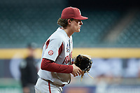 Arkansas Razorbacks third baseman Jacob Nesbit (5) on defense against the Texas Longhorns in game six of the 2020 Shriners Hospitals for Children College Classic at Minute Maid Park on February 28, 2020 in Houston, Texas. The Longhorns defeated the Razorbacks 8-7. (Brian Westerholt/Four Seam Images)
