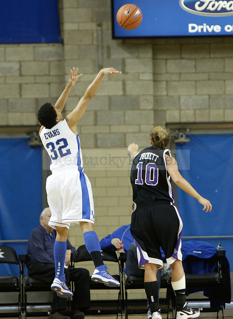 Junior guard Kastine Evans shoots a fade away jumper from the corner at the Women's Basketball game at Memorial Coliseum in Lexington, Ky., on Saturday, November. 17, 2012..
