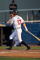 Alex Lee (17) of the Danville Braves follows through on his swing against the Pulaski Yankees at American Legion Post 325 Field on August 1, 2016 in Danville, Virginia.  The Yankees defeated the Braves 4-1.  (Brian Westerholt/Four Seam Images)