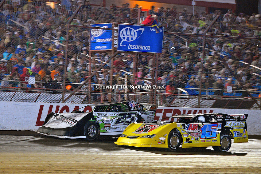 May 25, 2013; 11:06:18 PM; Wheatland, Mo., USA; The  Lucas Oil Late Model Dirt Series running the 21st Annual Lucas Oil Show-Me 100 Presented by ProtectTheHarvest.com.  Mandatory Credit: (thesportswire.net)