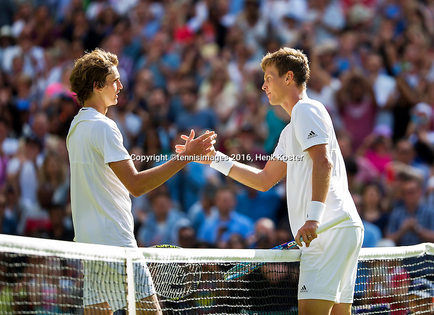 London, England, 3 July, 2016, Tennis, Wimbledon, Tomas Berdych (CZE) recieves congratulations from Alexander Zverev (GER) (L)<br /> Photo: Henk Koster/tennisimages.com
