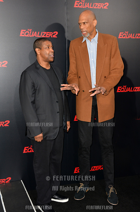 Denzel Washington &amp; Kareem Abdul-Jabbar at the premiere for &quot;The Equalizer 2&quot; at the TCL Chinese Theatre, Los Angeles, USA 17 July 2018<br /> Picture: Paul Smith/Featureflash/SilverHub 0208 004 5359 sales@silverhubmedia.com