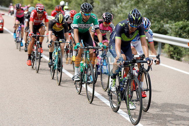 The breakaway group with Jos&eacute; Joaquin Rojas (ESP) Movistar Team on the front during Stage 7 of the 2017 La Vuelta, running 207km from Ll&iacute;ria-Cuenca, Spain. 25th August 2017.<br /> Picture: Unipublic/&copy;photogomezsport | Cyclefile<br /> <br /> <br /> All photos usage must carry mandatory copyright credit (&copy; Cyclefile | Unipublic/&copy;photogomezsport)
