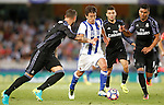 Real Sociedad's Mikel Oyarzabal (2l) and Real Madrid's Sergio Ramos (l), Mateo Kovacic (c-r) and Carlos Henrique Casemiro during La Liga match. August 21,2016. (ALTERPHOTOS/Acero)
