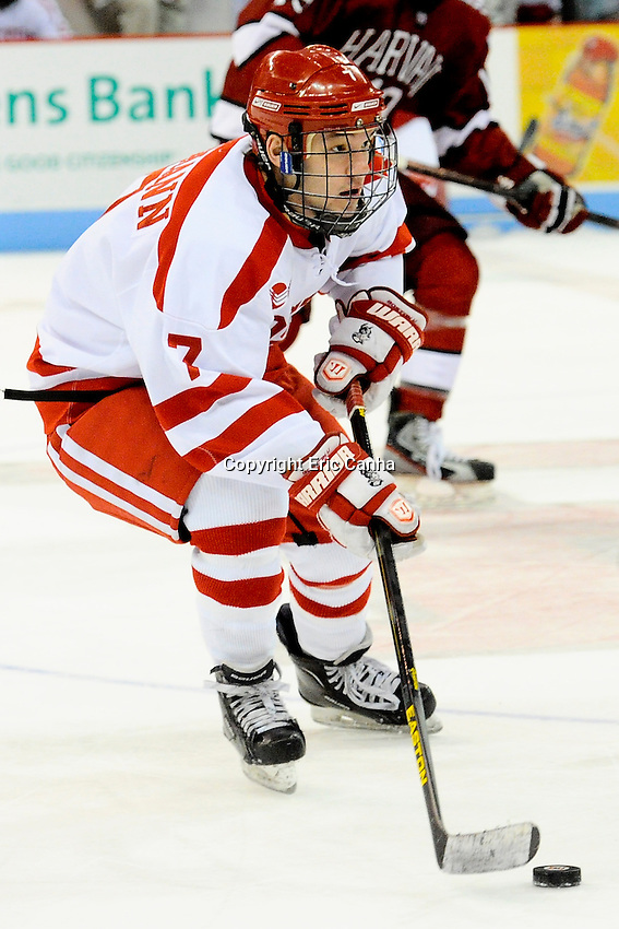 Boston University Terriers forward Cason Hohmann (7) during the Harvard University at Boston University NCAA hockey match held at the Agganis Arena in Boston Massachusetts.   Eric Canha/CSM