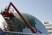 April 9, 2012. Raleigh, NC.. As part of the renovation of the North Carolina Museum of Natural Sciences, a highly detailed globe, known as the SECU Daily Planet, is being installed on Jones Street. High resolution satellite maps will cover the globe, giving the public a nearly complete view of the planet.